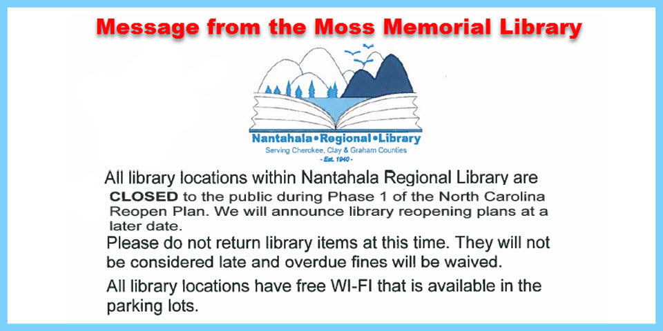 Message from the Moss Memorial Library