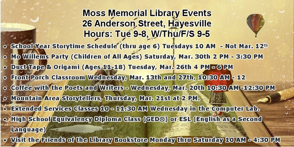 Moss Memorial Library Events